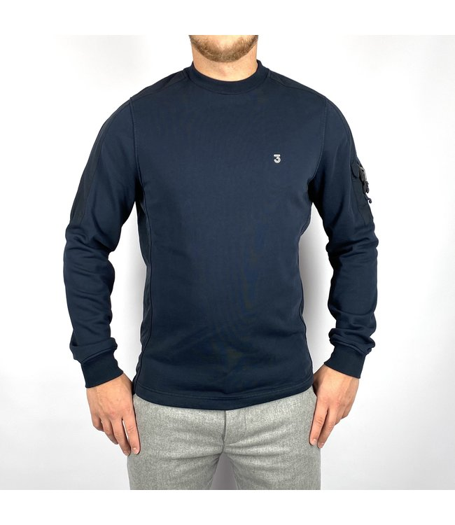 Koll3kt Buckle pkt Crew Sweater Blue