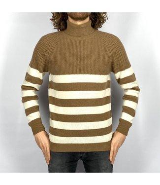 Wool & Co Col stripe Brown