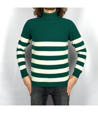 Wool & Co Col stripe Green