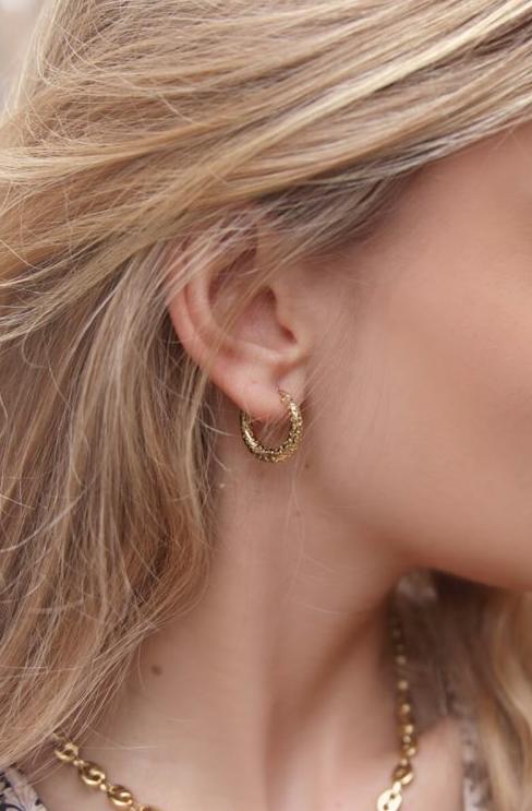 MY JEWELLERY MY JEWELLERY - Kleine oorringen met patroon goud