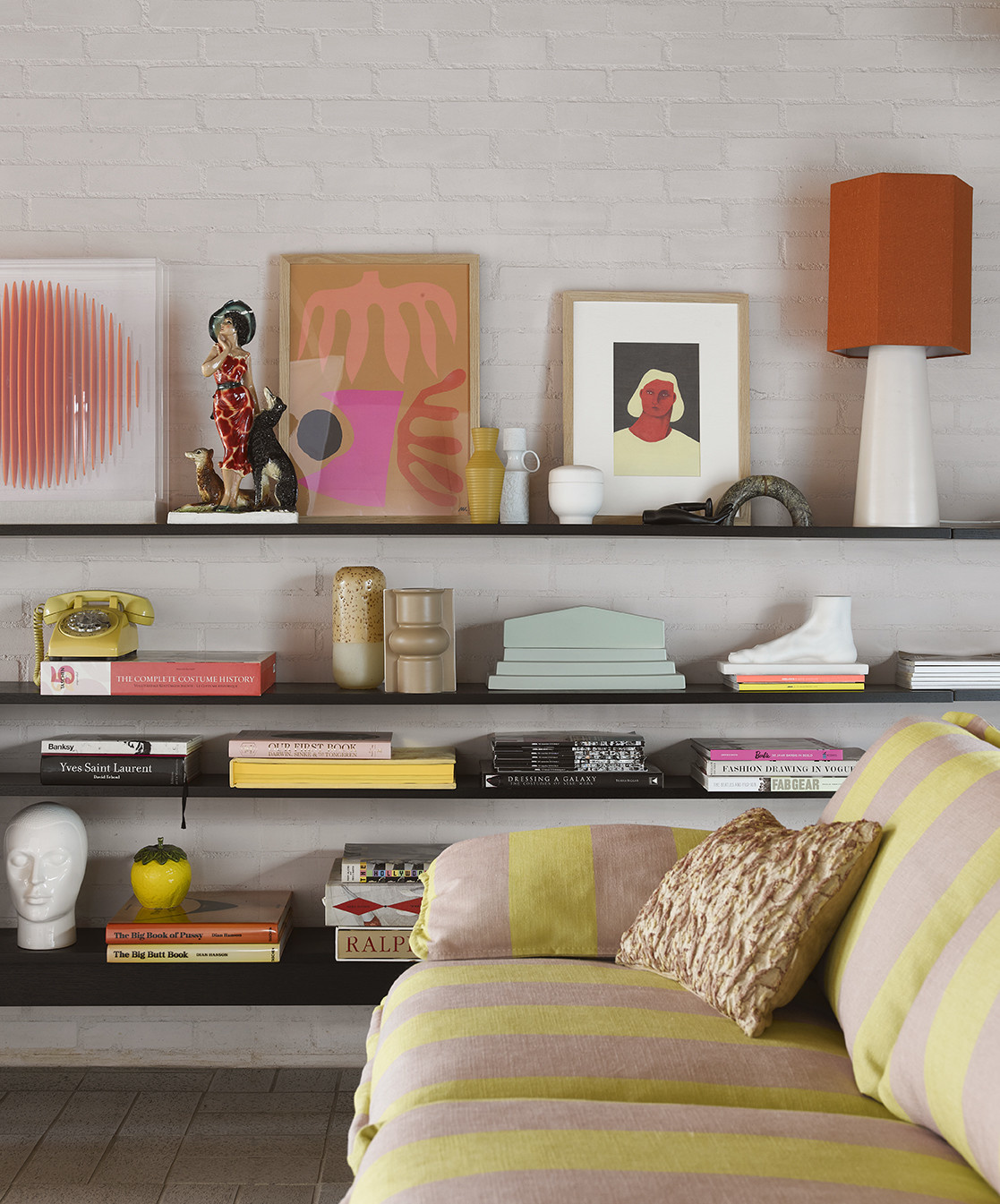 HK LIVING HK LIVING - Floral jacquard weave cushion Burgundy/yellow