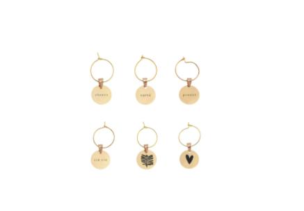 ZUSSS ZUSSS - Set van 6 wijnglas hangers metaal