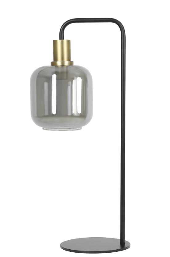 LIGHT & LIVING TAFELLAMP - Ø18x57,5 cm LEKAR antiek brons+smoke glas