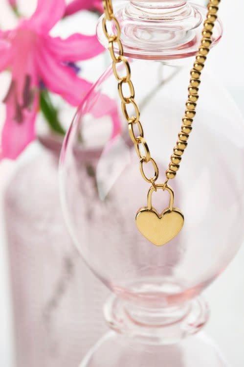 MY JEWELLERY MY JEWELLERY - Ketting hartjes slot zilver of goud