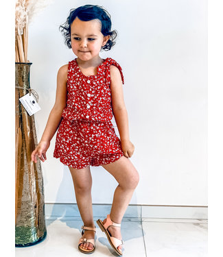 Pure Sense ALLIA'S RED PLAYSUIT WITH WHITE FLOWERS