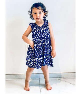 Pure Sense ALLIA'S DARK BLUE FLOWER DRESS
