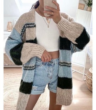 Pure Sense HALF LONG BEIGE,BLUE AND BROWN STIPED CARDIGAN