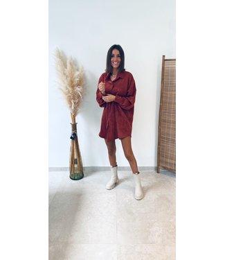 Pure Sense ANIKA'S FAV VELOUR SHIRT DRESS ORANGE/RED