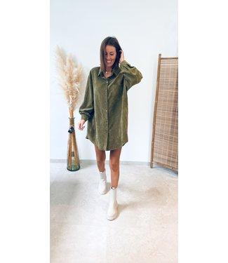 Pure Sense ANIKA'S FAV VELOUR SHIRT DRESS KAKI