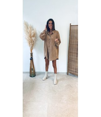 Pure Sense ANIKA'S FAV VELOUR SHIRT DRESS BEIGE