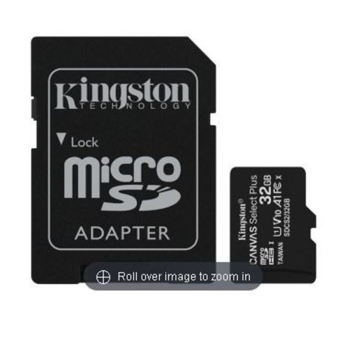 Kingston Technology Kingston Canvas Select Plus Flash memory card (microSDHC to SD adapter included) 32 GB A1 / Video Class V10 / UHS Class 1 / Class10 microSDHC UHS-I
