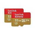 SANDISK SanDisk 32GB Extreme V30 Action Camera Micro SD Card (SDHC) UHS-I U3 + Adapter - 90MB/s - 2 Pack