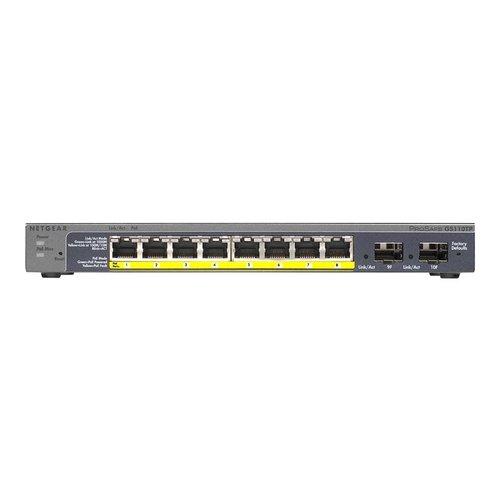 NETGEAR NETGEAR GS110TP Switch Managed 8 x 10/100/1000 (PoE) + 2 x SFP desktop PoE (46 W)