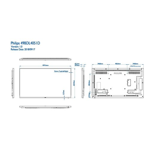Philips MMD 55BDL4051D/00 55  inch  Basic Professional Signage,  24/7 scherm