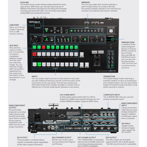 Roland AV Roland V-800HD MKII 8 Channel HD-SDI/DVI-D Multi-format Video Switcher