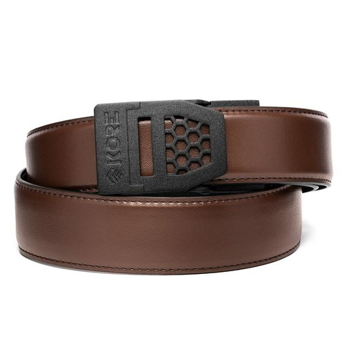 KORE X6 BLACK BUCKLE | BROWN LEATHER GUN BELT