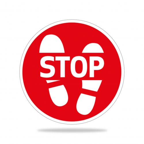 Vloersticker rond STOP 1