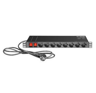 "Adam Hall 19"" Parts 874716 19"" 1U Mains Power Strip with 16 Sockets"