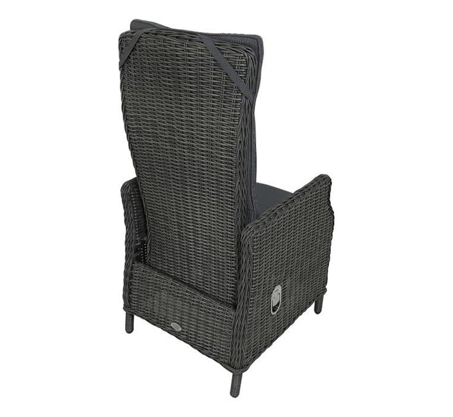 Victoria Deluxe Rock Grey Wicker verstellbaren Gartenstuhl