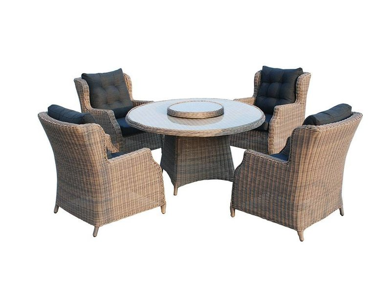 SenS-Line Chesterfield tuinset Polyrattan bruin