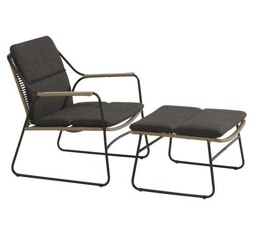4 Seasons Outdoor Scandic Loungestoel met hocker - voetenbank