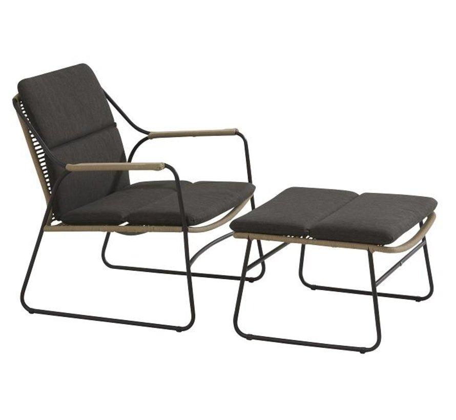Scandic Loungestoel met hocker - voetenbank