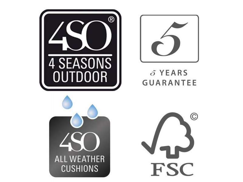 4 Seasons Outdoor Scandic Diningset 7-Delig met Louvre  tuintafel 240cm x 100cm