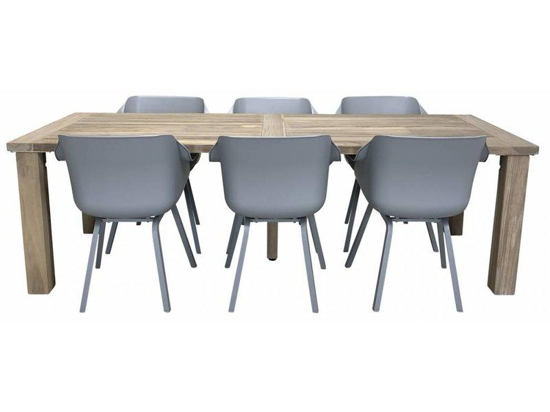 Hartman Sophie element Misty grey met Taste by 4 Seasons Louvre teak tafel 240cm Tuinset