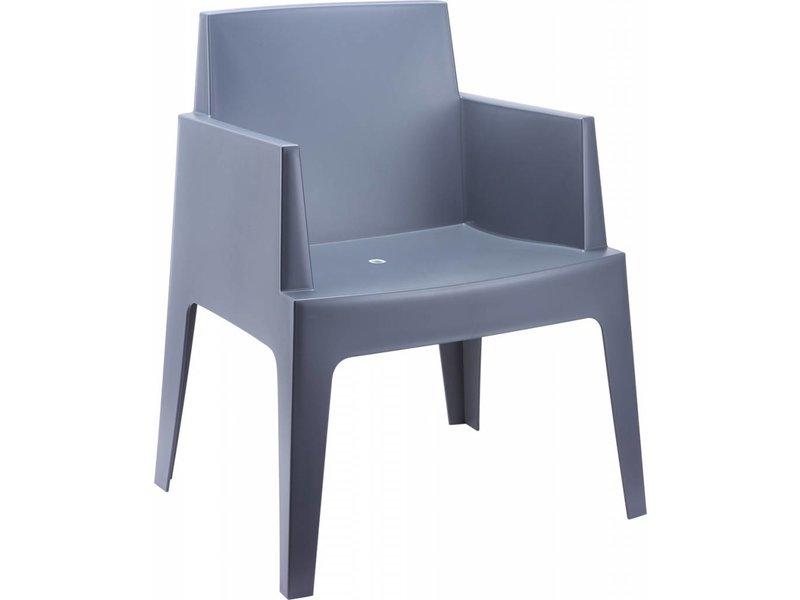 PAZOON Box stoel grijs met Taste by 4 Seasons Louvre tuintafel 7-delige tuinset