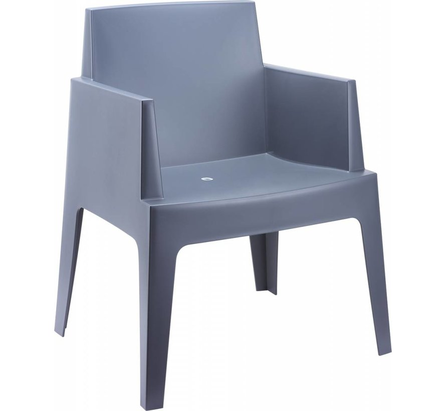 Box stoel grijs met Taste by 4 Seasons Louvre tuintafel 7-delige tuinset