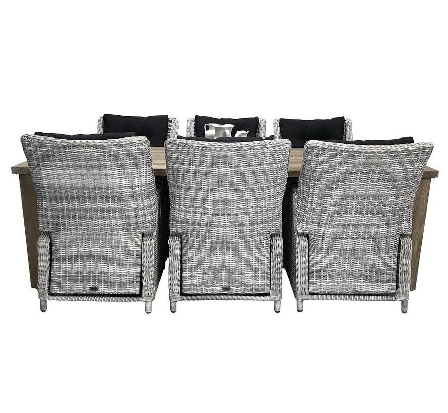 6x Riva White Faded Grey mit Taste by 4 Seasons Louvre 240cm Gartenmöbel set
