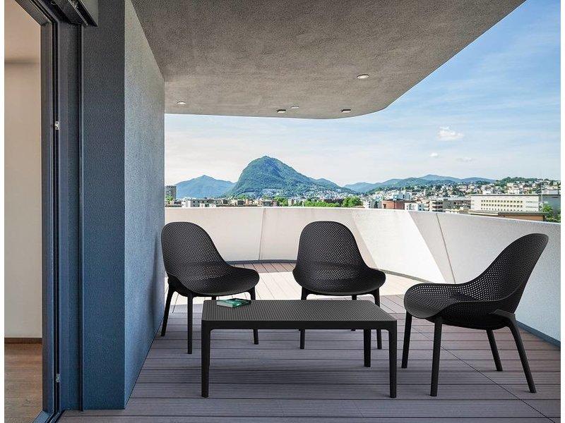 PAZOON Sky loungeset zwart met loungetafel 4-delig