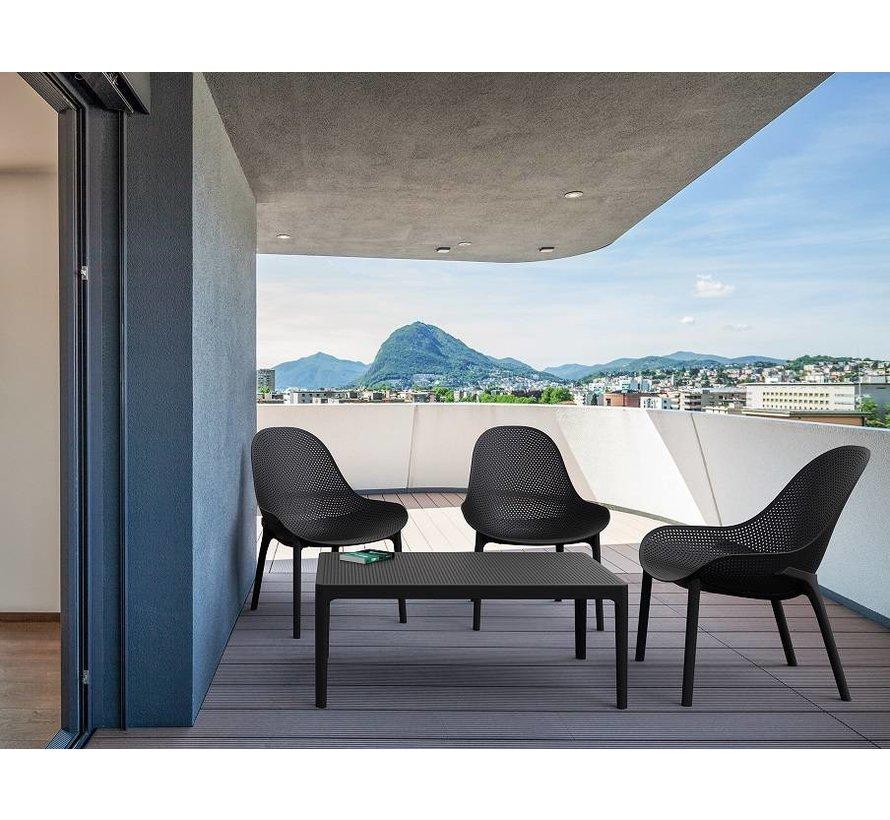 Sky  lounge garnitur Schwarz mit loungetisch 5-teilig
