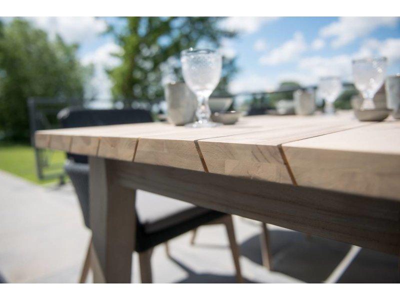 PAZOON Sky tuinstoel wit met Derby 240cm teak tuintafel 7-delige tuinset