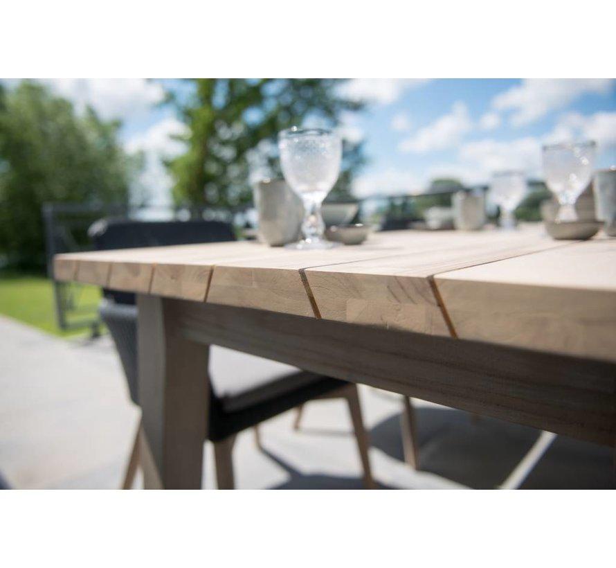 Sky tuinstoel wit met Derby 240cm teak tuintafel 7-delige tuinset