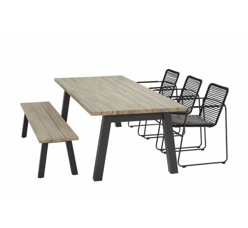 Taste by 4 Seasons outdoor 3x Taste by 4 Seasons Elba tuinstoel met Derby teak tafel 240cm tuinset