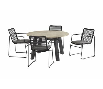 Taste by 4 Seasons outdoor Elba roping tuinstoel met Derby teak tafel rond
