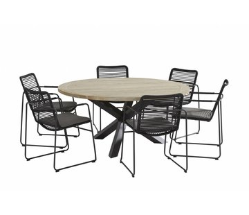 Taste by 4 Seasons outdoor Elba roping tuinstoel met Louvre tafel rond