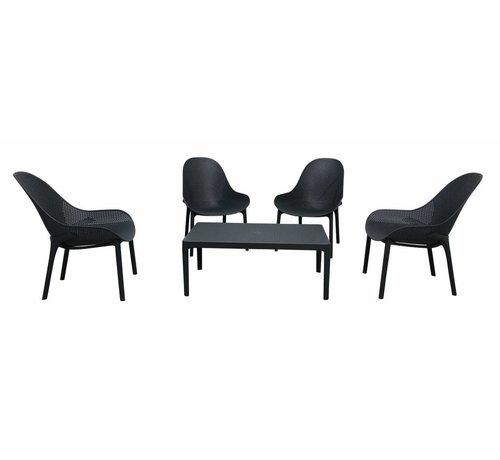 PAZOON Sky  Lounge Garnitur Antrazit mit Loungetisch 5-teilig