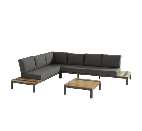 Taste by 4 Seasons outdoor Meridien aluminium Loungeset Matt Carbon met Teak afwerking