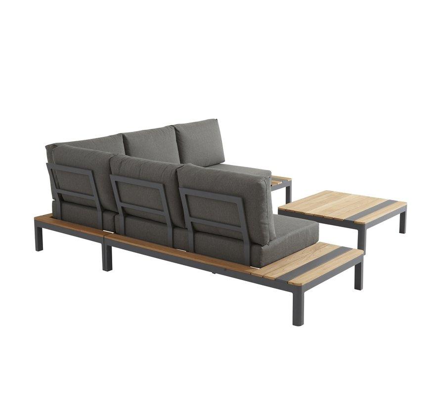 Meridien Loungemöbel-set Matt Carbon aluminium mit Teak