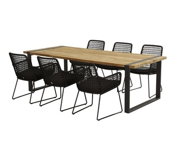 Taste by 4 Seasons outdoor Alto Natural Teak 240cm met Athena Rope stoel