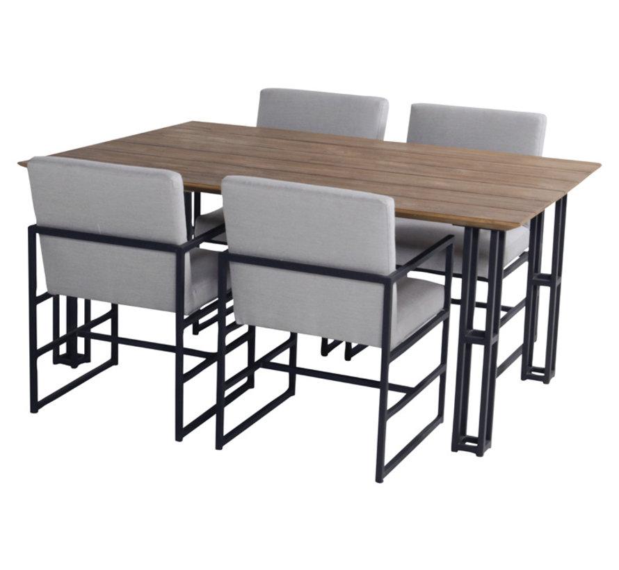 Amsterdam Dining aluminium mit teak platter 5-teilige gartenmöbel-set