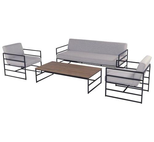 Hartman Amsterdam Lounge 4-delige loungeset aluminium & teak