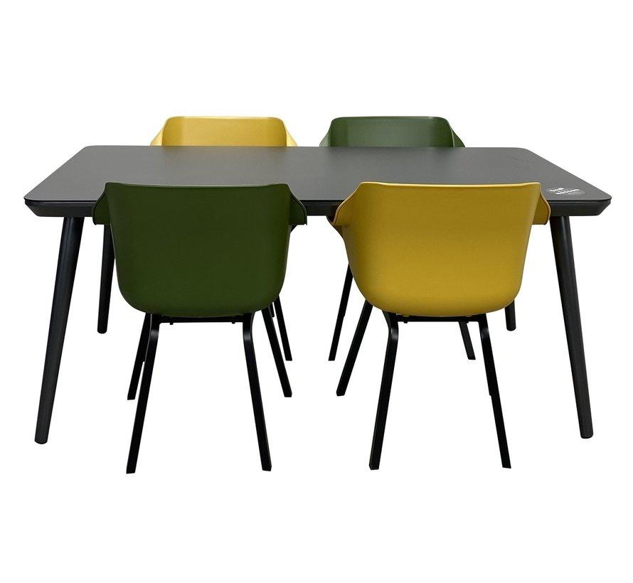 Sophie HPL tisch mit Sophie Mos Grün und Curry Gelb