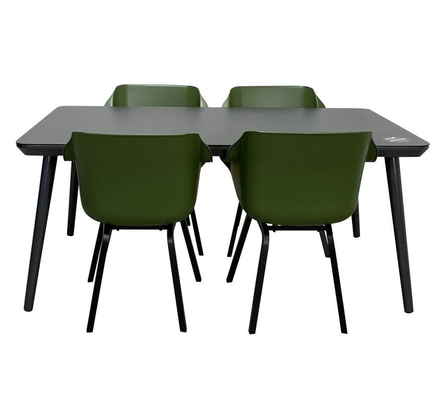 Sophie HPL tisch mit Sophie Mos Grün Sessel