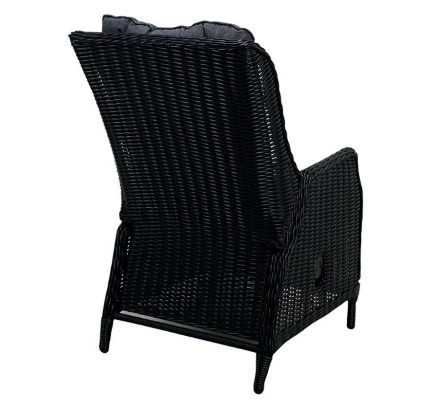 Osborn schwarz Polyrattan Verstellbarer Gartensessel mit hocker