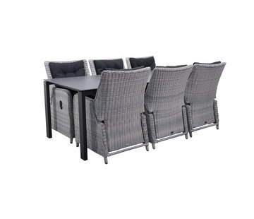 Taste by 4 Seasons outdoor Lafite 220cm mit Riva White Faded Grey 7-teilig