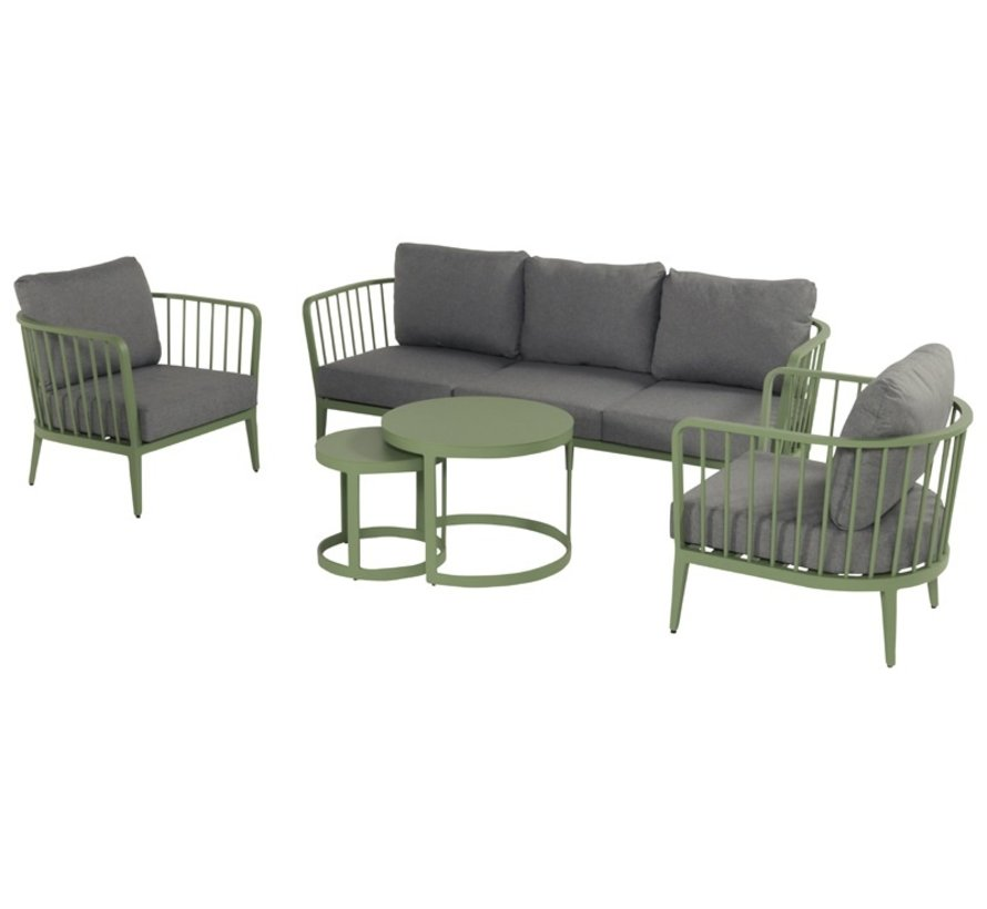 Bolivia aluminium loungeset Grass Green met loungetafels