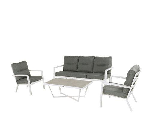 Hartman Canberra aluminium loungeset Weiss mit loungetisch